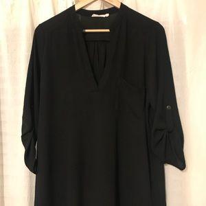 Lush Tunic Top Blouse Shirt Black L Nordstrom
